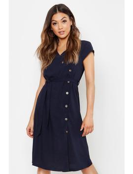 Woven Button Midi Dress by Boohoo