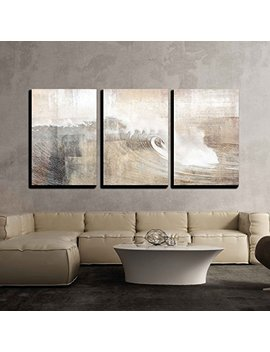Wall26   Abstract Huge Wave Composition   Canvas Art Wall Decor 24 X36 X3 Panels by Wall26