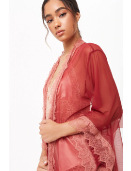 Sheer Lace Trim Robe by Forever 21