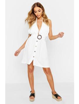 Linen Look O Ring Buckle Shift Dress by Boohoo