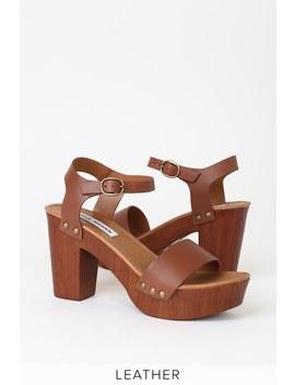 Luna Tan Leather Wooden Platform Sandals by Steve Madden