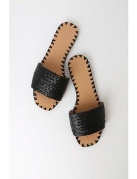 Nickols Black Woven Slide Sandals by Lulu's