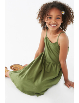 Girls Cotton Blend Cami Dress (Kids) by Forever 21