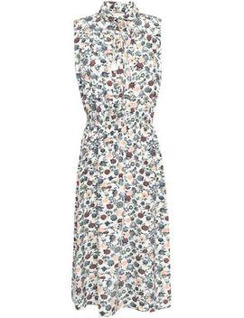 Tasseled Floral Print Crepe De Chine Midi Dress by Adam Lippes