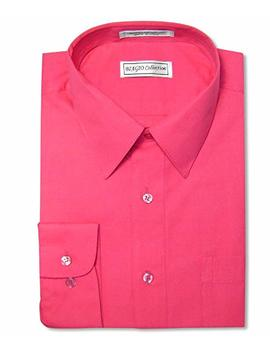 Biagio Men's 100% Cotton Solid Hot Pink Fuchsia Dress Shirt W/Convertible Cuffs by Biagio