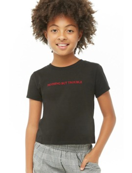 Girls Nothing But Trouble Graphic Tee (Kids) by Forever 21