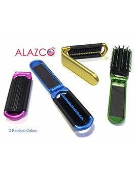2 Alazco Folding Hair Brush With Mirror Compact Pocket Size Travel Car Gym Bag Purse Locker by Alazco