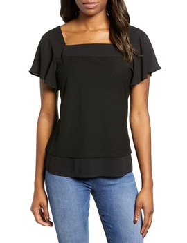 Layered Look Flutter Sleeve Top by Vince Camuto