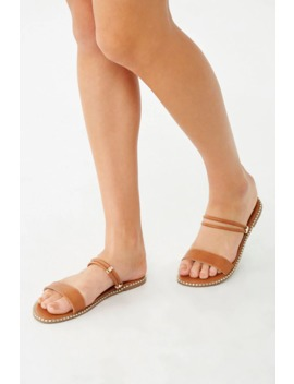 Faux Leather Metallic Trim Sandals by Forever 21