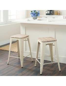 Tabouret Cream Counter Stool With Wood Seat (Set Of 2) by Tabouret