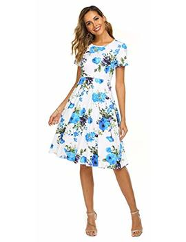 Ours Women's Summer Casual Floral Print Short Sleeve Flared Midi Dress by Ours
