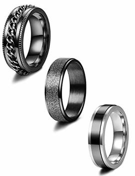 Jstyle 3 Pcs Stainless Steel Fidget Band Rings For Women Mens Cool Spinner Rings 6/8 Mm Wide Wedding Pormise Band Ring Set by Jstyle