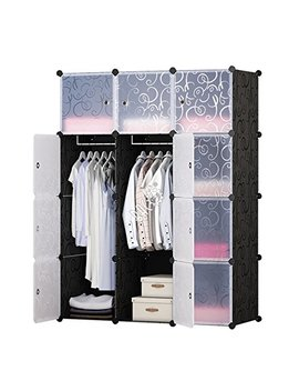 Brian & Dany 12 Cube Portable Closet, Plastic Wardrobe With Doors & 2 Hangers   Deeper Cubes Than Normal (14inch Vs 18inch) For Larger Capacity by Brian & Dany