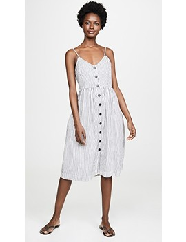 Linen Cotton Striped Button Front Tank Dress by Atm Anthony Thomas Melillo