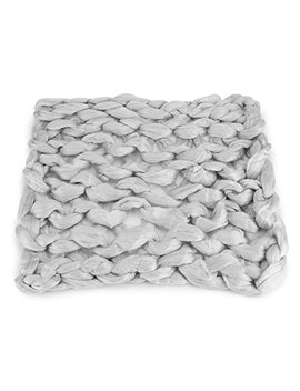 Hand Chunky Knitted Blanket Thick Merino Wool Knitting Throw Blankets Needle Felting Woolen MatHand Knotted Shag Area Rug Merino 100% Pure Wool Blanket Extreme Knitting Mat Rug Small Size(Light Grey) by Yosoo