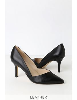 Tuscany Black Leather Pointed Toe Pumps by Marc Fisher