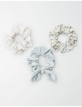 Aeo Floral + Gingham Scrunchie 3 Pack by American Eagle Outfitters