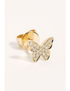 14k Diamond Butterfly Stud Earrings by Ef Collection