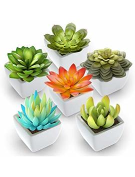 Pack Of 6   Mini Fake Succulents Artificial Plants   Ceramic White Potted Succulents   Faux Succulents Plants For Home Office Shelf Decorations by Shop Zon Fake Succulents