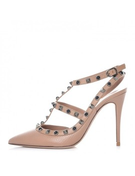 Valentino Pebbled Calfskin Rockstud Rolling Ankle Strap Pumps 37.5 Poudre by Valentino