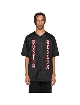 Black Boston Red Sox Edition Appliqué Shirt by Marcelo Burlon County Of Milan