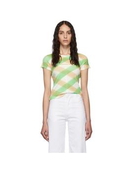White & Green Lattice Lapped Baby T Shirt by Eckhaus Latta