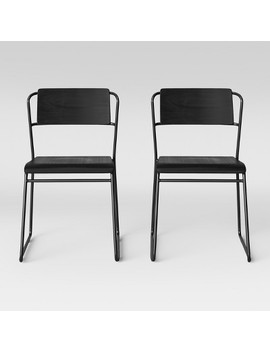 Set Of 2 Killiam Mixed Material Sled Dining Chair Black   Project 62 by Project 62
