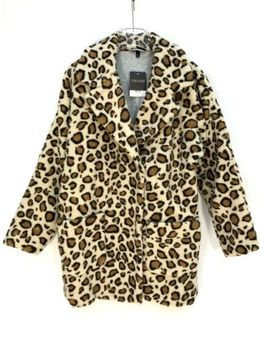Topshop Leopard Print Borg Coat Size Uk10 Eur38 Us6 New Rrp £89 by Topshop