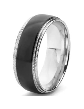 Black Plated Stainless Steel Ridged Comfort Fit Ring (8mm) by West Coast Jewelry