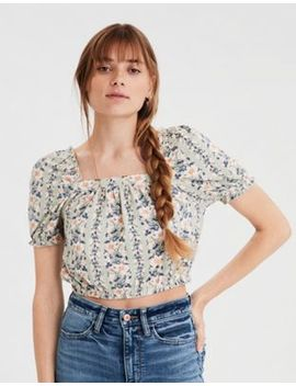 Ae Printed Bubble Sleeve Crop Top by American Eagle Outfitters