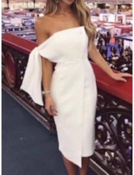 Button Short Sleeve Mid Waist Women's Sheath Dress by Tb Dress