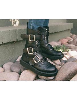 Black Tu Kskin™ 3 Big Buckle Viva Low Boot by Tuk
