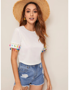 Tassel & Pompom Trim Tee by Make Me Chic