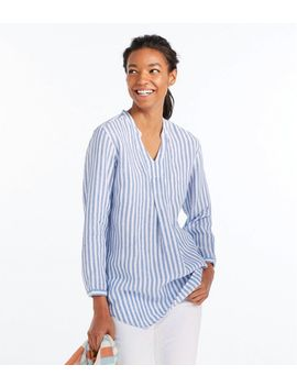 Premium Washable Linen Shirt, Splitneck Tunic Long Sleeve Stripe by L.L.Bean