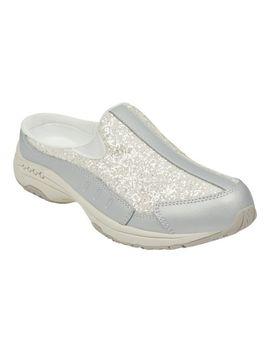 Traveltime Glitter Clogs   Silver White Glitter by Easy Spirit