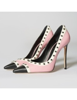Color Block Rivet Pink High Heel Pumps by Tb Dress