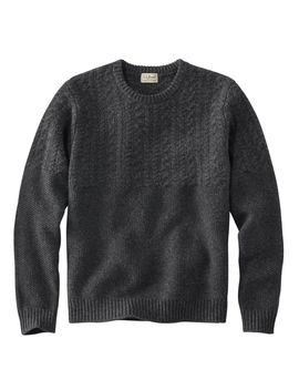 Washable Lambswool Sweaters, Mixed Stitch Crewneck by L.L.Bean