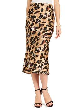Leopard Print Satin Midi Pencil Skirt by Suzy Shier