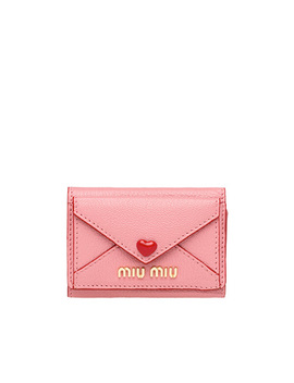 Madras Leather Wallet by Miu Miu