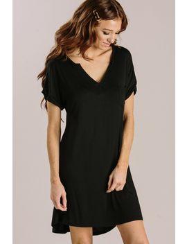 Mellie Black T Shirt Dress by Morning Lavender