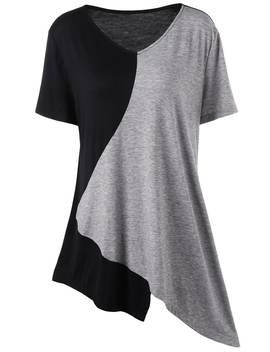 Asymmetrical Color Block Plus Size Long T Shirt   Xl by Rosegal