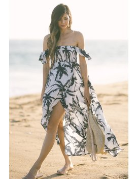 Sarah Navy Palm Print High Low Dress by Morning Lavender