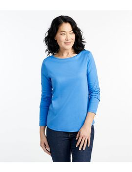 Pima Cotton Shaped Tee, Long Sleeve Boatneck by L.L.Bean