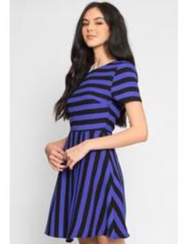 Equinox Stripe Fit And Flare Dress In Blue by Wet Seal