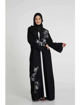 Black Open Abaya With Grey Floral Embroidery by Abayabuth
