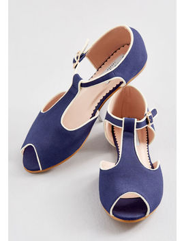 Only A Peek T Strap Flat by Modcloth