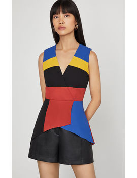Colorblocked Faux Wrap Peplum Top by Bcbgmaxazria