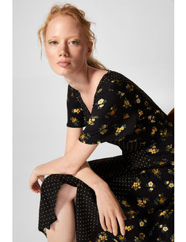 Midi Flower Polka Dot Dress by Springfield