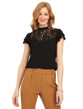 Flared Sleeve Mock Neck Lace Blouse by Suzy Shier