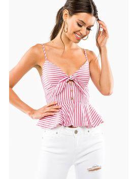 Two Tone Stripe Tie Peplum Top by A'gaci